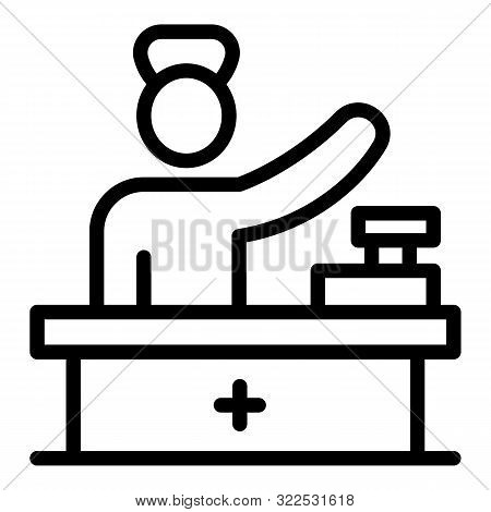 Pharmacist At Checkout Icon. Outline Pharmacist At Checkout Vector Icon For Web Design Isolated On W