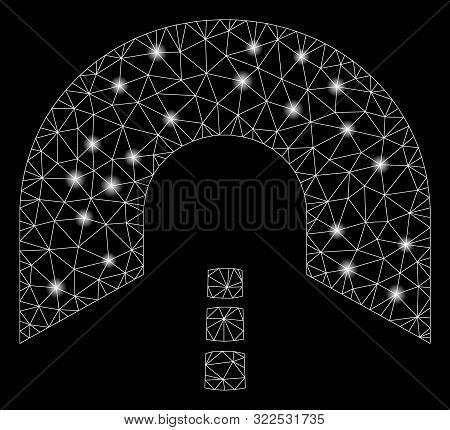 Glowing Mesh Tunnel With Glare Effect. Abstract Illuminated Model Of Tunnel Icon. Shiny Wire Frame P