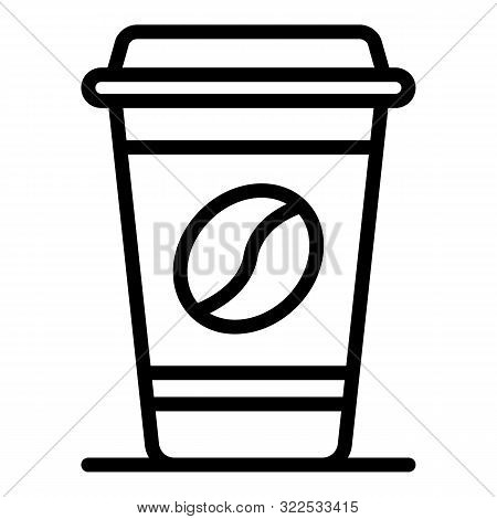 Plastic Cup Of Coffee Icon. Outline Plastic Cup Of Coffee Vector Icon For Web Design Isolated On Whi