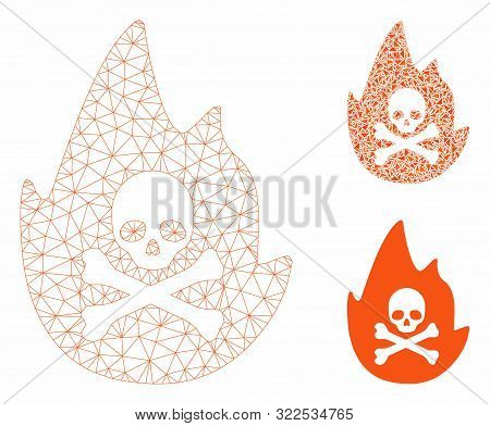 Mesh Hellfire Model With Triangle Mosaic Icon. Wire Frame Triangular Mesh Of Hellfire. Vector Mosaic