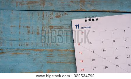 Desktop Calendar 2019 Place On Wooden Office Desk.calender For Planner To Make Timetable,agenda Appo