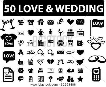 50 love & wedding signs. vector