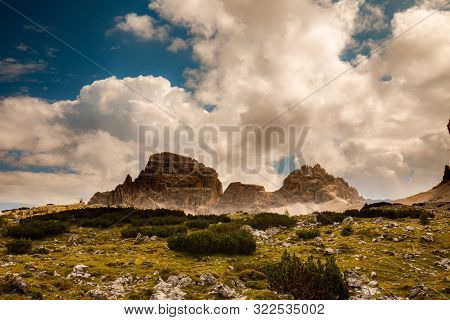 Mountain Paternkofel In Sexten Dolomites, South Tyrol, Italy