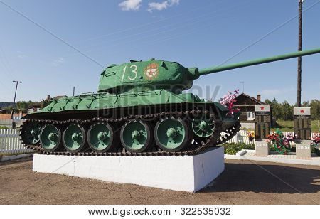 Russia, Village Mikhailovka, July 2019: Monument With T-34 Tank