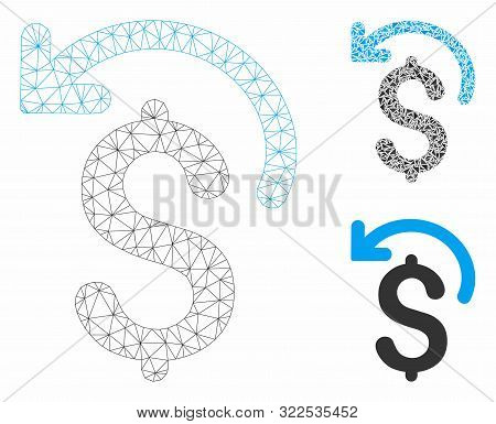 Mesh Undo Payment Model With Triangle Mosaic Icon. Wire Frame Polygonal Mesh Of Undo Payment. Vector