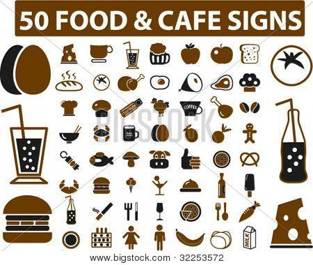 50 Lebensmittel & Cafe Zeichen. Vektor