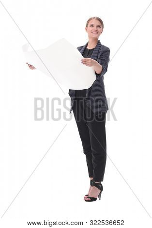 young business woman looking at sketches of new project . isolated on white