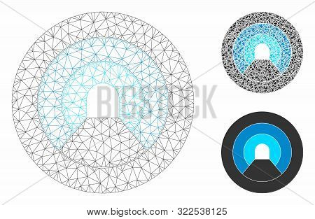 Mesh Pipe Tunnel Model With Triangle Mosaic Icon. Wire Carcass Polygonal Mesh Of Pipe Tunnel. Vector