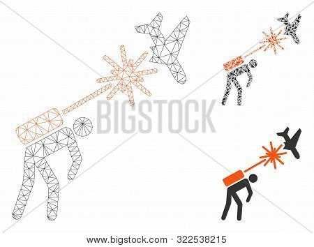 Mesh Terrorist Strikes Aircraft Model With Triangle Mosaic Icon. Wire Frame Triangular Mesh Of Terro