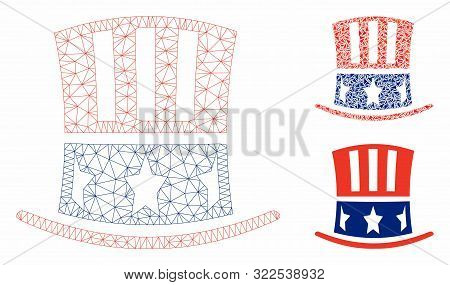 Mesh Uncle Sam Hat Model With Triangle Mosaic Icon. Wire Carcass Triangular Mesh Of Uncle Sam Hat. V