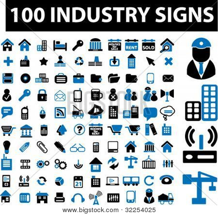 100 industry signs. vector