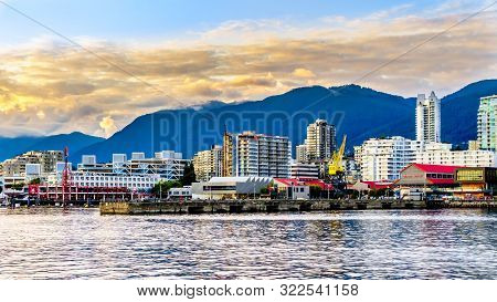 North Vancouver, British Columbia/canada - July 11, 2019: Sunset Over The High Rise Buildings And Lo
