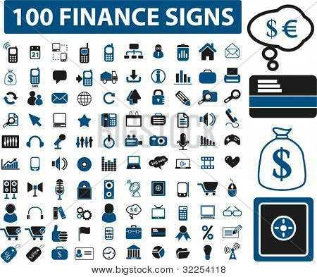 100 finance signs. vector