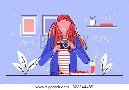 Woman Taking Selfie Picture In Mirror Smiling Girl Shooting With Digital Dslr Camera Female Cartoon