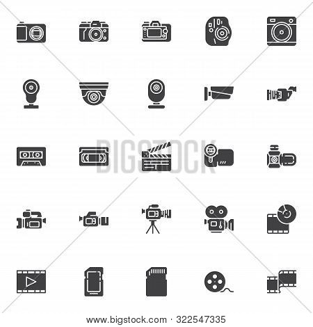 Video And Photo Vector Icons Set, Modern Solid Symbol Collection, Filled Style Pictogram Pack. Signs