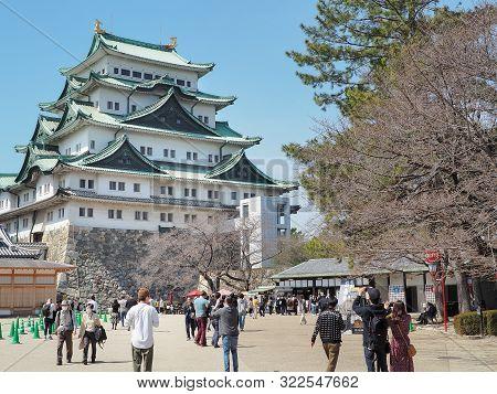 Nagoya, Japan- 20 March, 2019: Nagoya Castle Under Blue Sky. Nagoya Castle Is Famous Japanese Castle