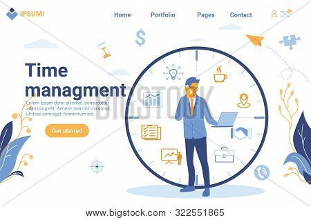 Flat Design Happy Man In Formal Suit Standing Next To Task Watch And Working On His Laptop Business