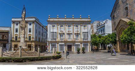 Jerez De La Frontera, Spain - May 15, 2019: Panorama Of The San Dionisio Square In Jerez De La Front