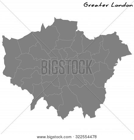 High Quality Map Of Greater London Is A Metropolitan County Of England, With Borders Of The Counties