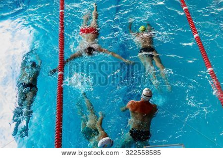 A Group Of Swimmers In A Swimming Training. Top View Of Swimming In The Outdoor Pool. Healthy Lifest