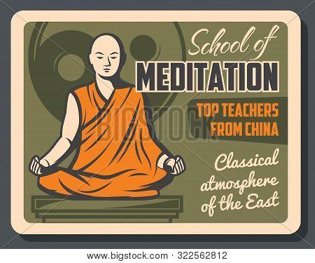 Buddhism Religious Center, Meditation School. Vector Buddhist Spiritual Tranquility And Dharma Enlig