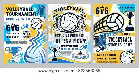 Volleyball Sport Championship Cup And School League Or College Team Match Tournament Halftone Poster