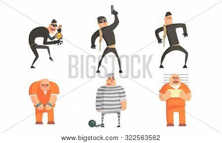 Criminals And Prisoners Characters Set, Masked Robbers Committing Burglary Or Theft, Prisoners In Un