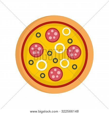 Pizza Mozzarella Icon. Flat Illustration Of Pizza Mozzarella Vector Icon For Web Design