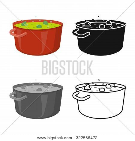 Vector Design Of Saucepan And Broccoli Logo. Set Of Saucepan And Vegetable Vector Icon For Stock.