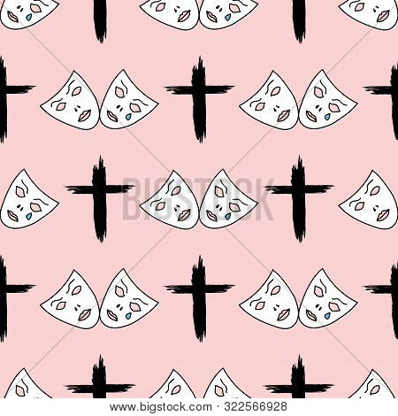 Strange Seamless Pattern With Crosses And Sad Masks Drawn By Hand. Sketch, Grunge, Paint. Fancy Vect