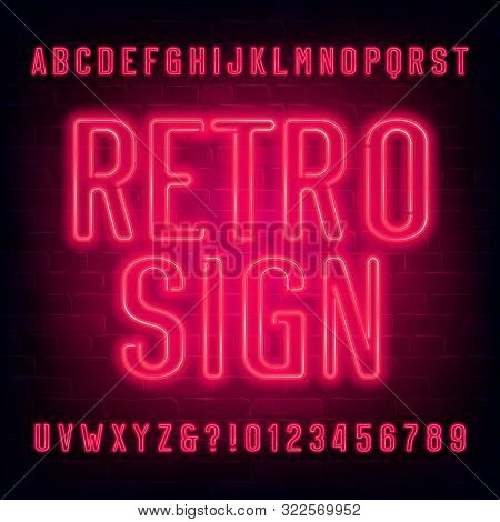 Retro Sign Alphabet Font. Red Neon Light Letters And Numbers On Brick Wall Background. Stock Vector