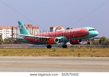 Borispol, Ukraine - September 10, 2019: Ur-wrj Wind Rose Aviation Airbus A321-200 Aircraft Landing O