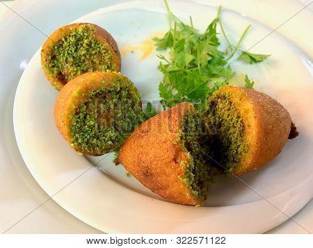 Icli Kofte / Boiled Kibbeh / Quibe / Stuffed Meatballs Falafel. Traditional Food.