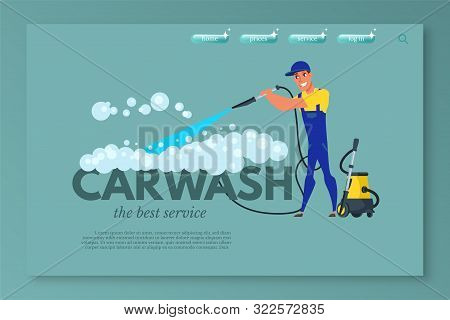 Car Wash Vector Landing Page Template. Vehicle Maintenance And Care Service Website Homepage. Car Cl
