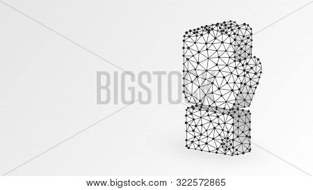 Clenched Fist Model. Business Strenght, Human Power, Success Concept. Abstract, Digital, Wireframe,