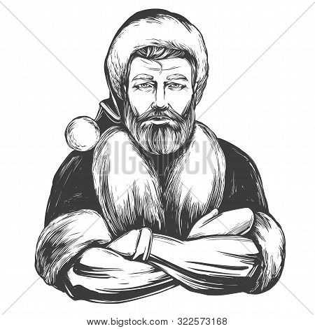 Modern Santa Claus Macho Man, Christmas Symbol Hand Drawn Vector Illustration Sketch