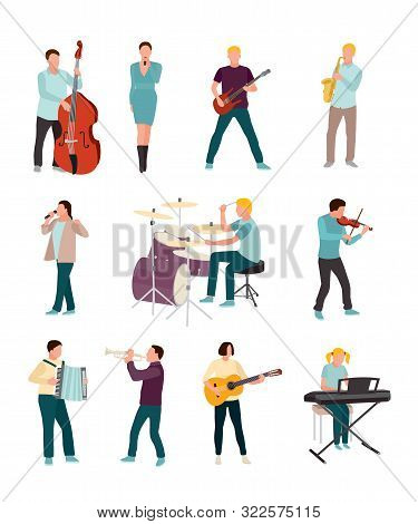 Musicians And Singers Vector Characters Set. Cartoon Man, Woman. Music And Singing Art. Cello, Guita