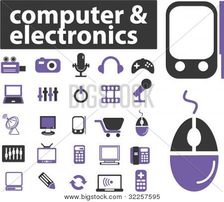 25 computer & electronics signs. vector