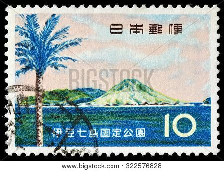 Luga, Russia - September 01, 2019: A Stamp Printed By Japan Shows Phoenix Tree And Hachijo Island (h