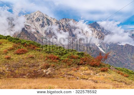 Landscape of Autumn Fall of Hakuba Valley in Nagano Chubu Japan
