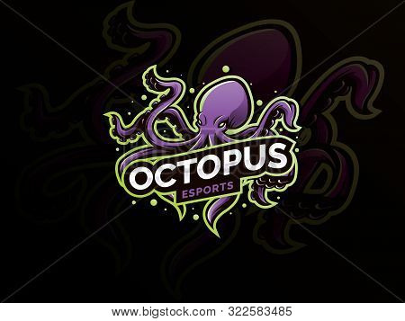 Squid, Kraken, Octopus Mascot Logo Design For Sport Team. Vector Esports Logo Concept, Modern Badge