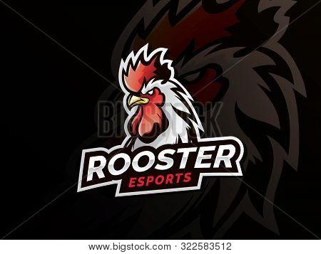 Chicken Rooster Head Mascot. Chicken Head Emblem Design For Esports Team. Vector Illustration