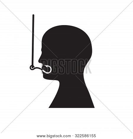 Silhouette Of A Man's Head On A Fish Hook. Isolated Background. Vector Image. Icon