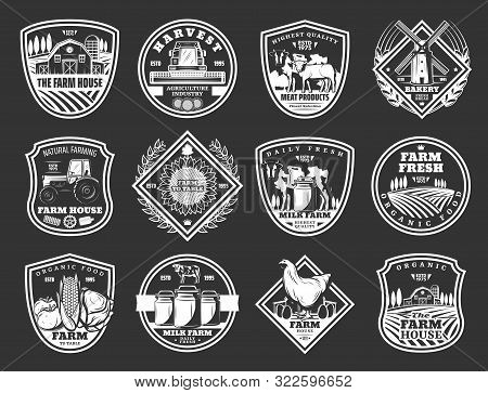 Farm And Agriculture, Meat And Dairy Food Product Icons. Vector Cattle Farm House, Agrarian Fruits A