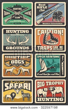 Hunting Open Season, Wild Animals And Wildfowl Hunt Club. Vector Hunter Traps Warning Sign, Elk And