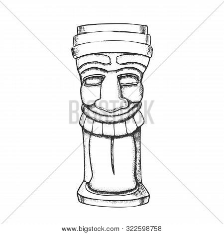 Tiki Idol Carved Wood Totem Monochrome Vector. Cultural Antique Laughing Funny Face Sculpture Idol.
