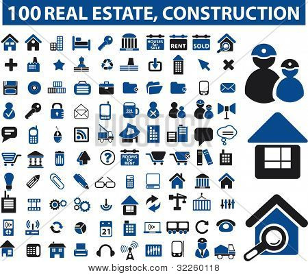 100 real estate & construction signs. raster version
