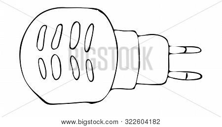 Hand Drawing Sketch Electric Fumigator. Anti-mosquito Home Device For Smoking Pests And Biting Insec