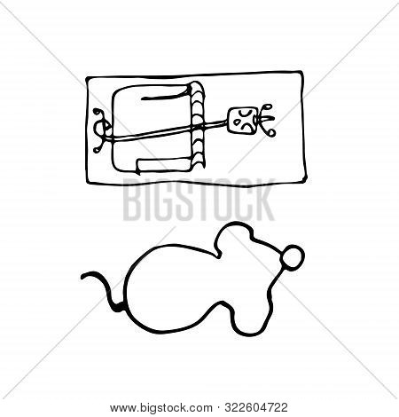 Silhouette Mouse And Mousetrap In Hand Drawn Style. Sketch Of A Rodent And Trap On A White Backgroun