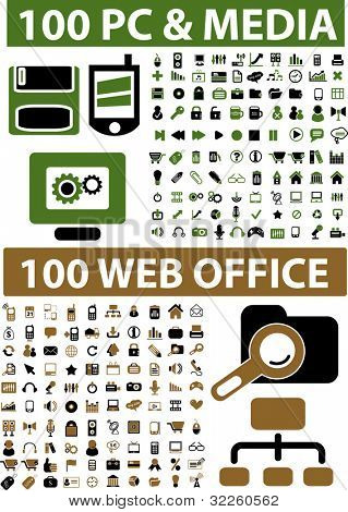 200 professional web office & media signs. vector